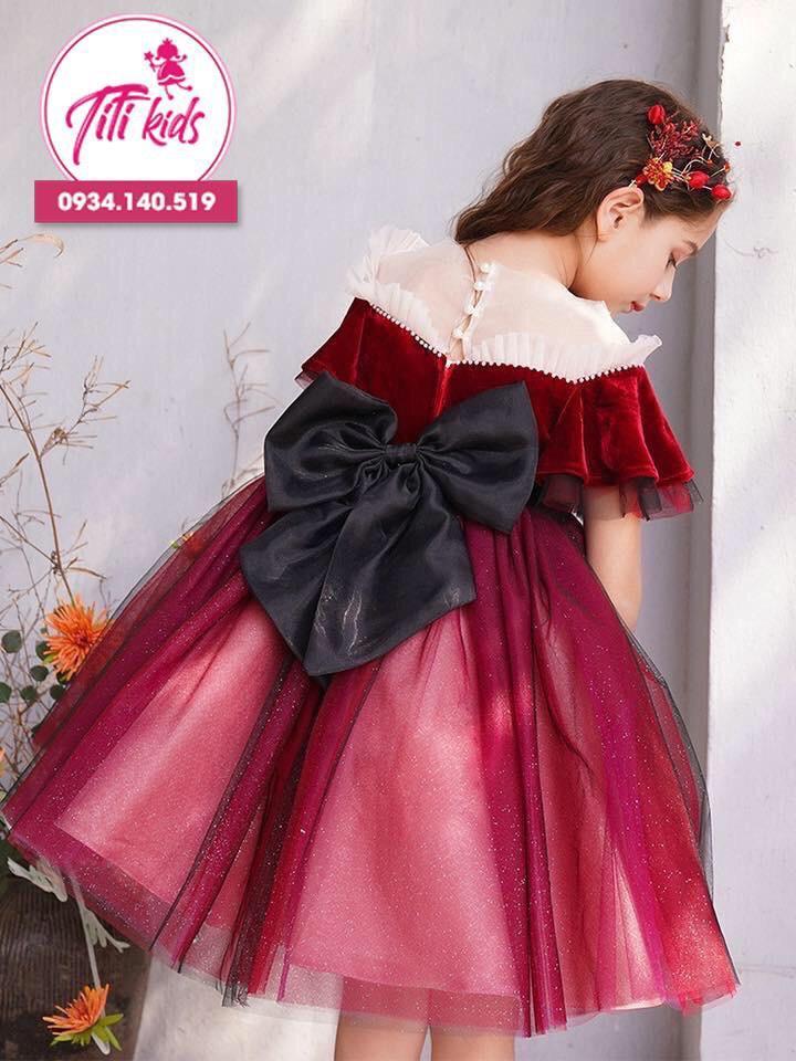 Giá bán Đầm cho bé gái  chơi Tết (Đỏ) - Đầm Tết 2020 - Đầm bé gái - Đầm Công Chúa - Titikids