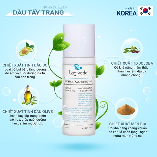 Dầu Tẩy Trang làm sạch sâu Hàn Quốc Lagivado Micellar Cleansing Oil 100 ml - Nước tẩy trang, sữa tẩy trang, kem tẩy trang, đánh bay hiệu quả các lớp Makeup trang điểm giúp loại bỏ mụn trên da