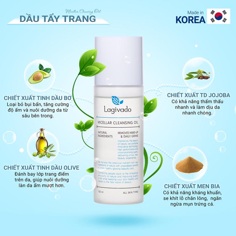 Dầu Tẩy Trang làm sạch sâu Hàn Quốc Lagivado Micellar Cleansing Oil 100 ml - Nước tẩy trang, sữa tẩy trang, kem tẩy trang, đánh bay hiệu quả các lớp Makeup trang điểm giúp loại bỏ mụn trên da nhập khẩu
