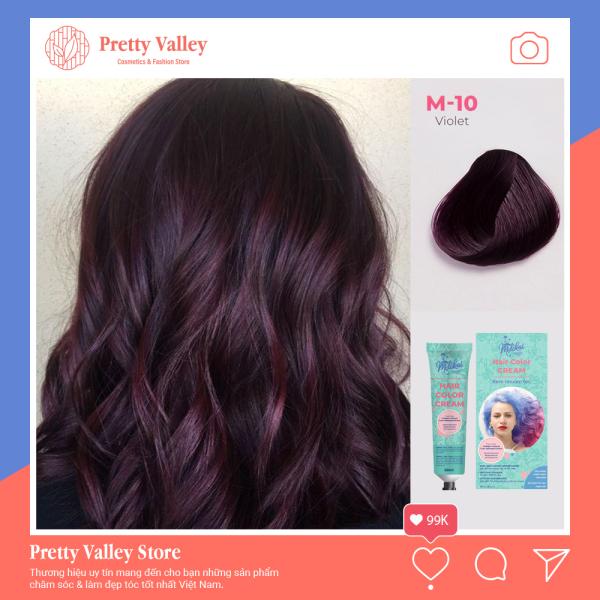 Kem nhuộm tóc cao cấp màu tím than Molokai 60ml [ TẶNG KÈM GĂNG TAY + CHAI OXY TRỢ DƯỠNG TÓC ] nhập khẩu