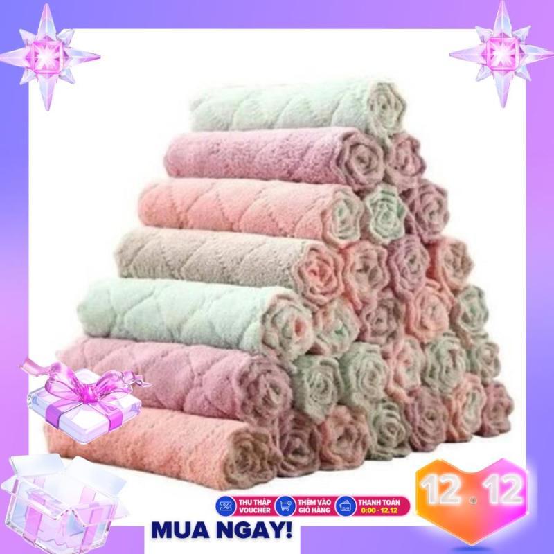Bộ 10 khăn lau đa năng Sét 10 Khăn lau 2 mặt đa năng mềm mịn xịn xò