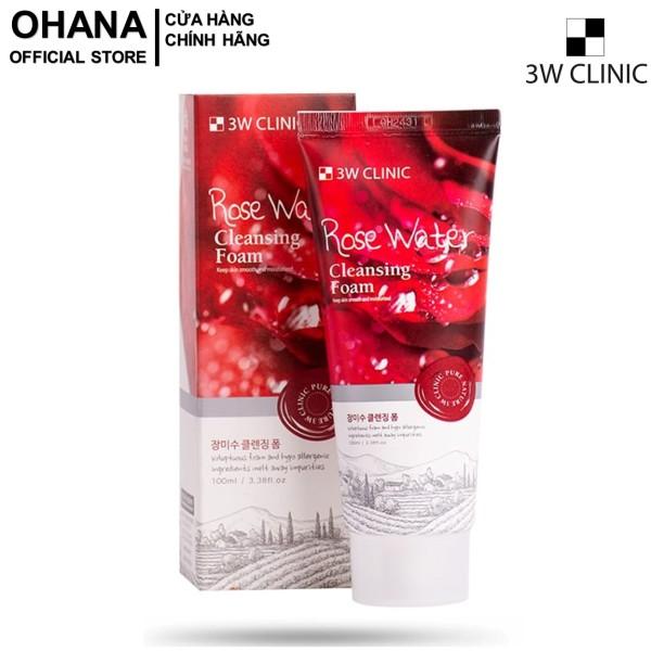 Sữa Rửa Mặt Chiết Xuất Từ Nước Hoa Hồng 3W Clinic Rose Water Cleansing Foam 100ml