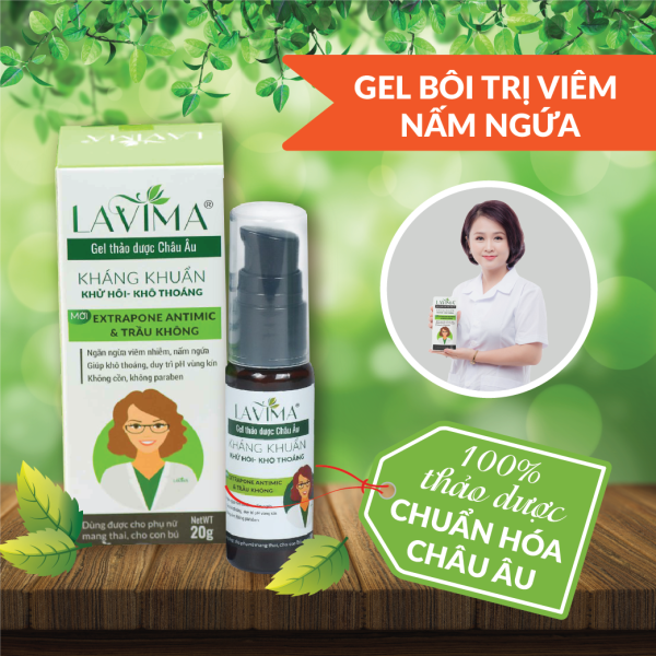 Gel bôi phụ khoa LAVIMA- viêm phụ khoa, viêm lộ tuyến, nấm ngứa từ thảo dược Châu Âu (20g)