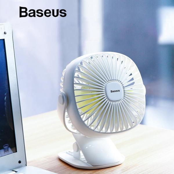 Quạt làm mát không khí mini Baseus thiết kế xoay 360 tích hợp đèn , có thể sạc lại thích hợp cho bàn làm việc