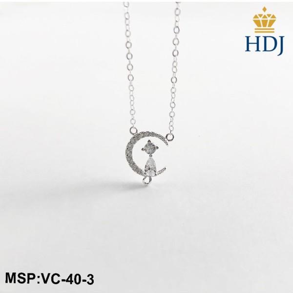 Dây chuyền bạc Ý 925 Hình MẶT TRĂNG và MÈO đính đá xinh xắn trang sức cao cấp HDJ mã VC-40-3