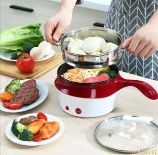Nồi lẩu điện đa năng, ca nấu mỳ mini đa năng 2 tầng có lồng hấp và nắp kính cao cấp. Size 18 cm. Nhiều màu thumbnail