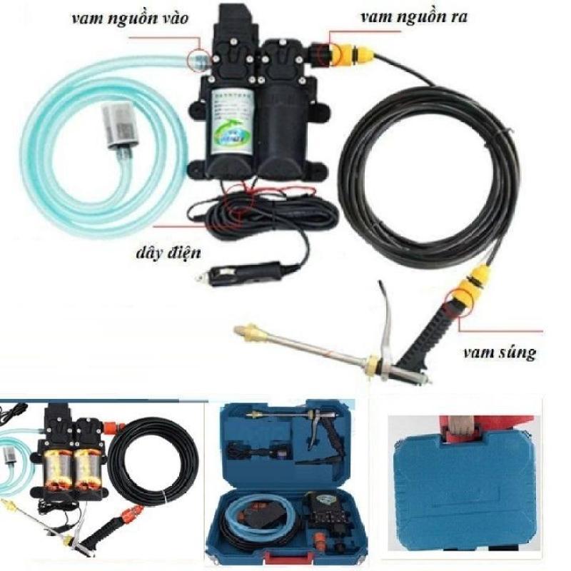 máy bơm rửa xe tăng áp mini, 12V và đổi nguồn 220v -100W và đầu phun áp lực cao cấp, tiết kiệm chi phí