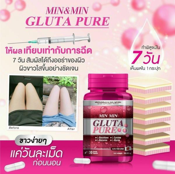 Viên uống trắng da cấp tốc MinMin Gluta Pure Thái lan cam kết chuẩn