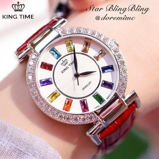 Đồng hồ nữ KING TIME Đính Đá Ruby Rainbow - Mặt to nổi bật, , Đồng hồ nữ hàn quốc, Đồng hồ nữ thời trang, Đồng hồ nữ chống nước, Đồng hồ nữ đẹp, Đồng hồ nữ thể thao thumbnail
