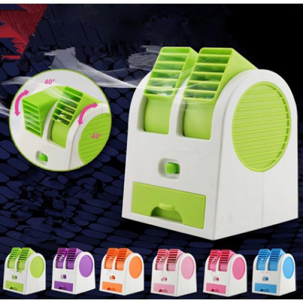 (Sale)QUẠT ĐIỀU HOA MINI2 CỬA GIÓ điều hòa mini 1-2 cửa gió - Quạt để bàn, Quạt USB, Quạt hơi nước mini 2 cửa chạy êm,sử dụng đá làm mát không khí-Quạt hơi nước mini có khay chứa đá