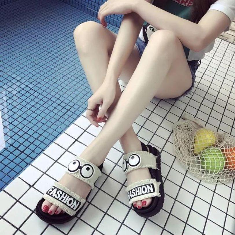 Dép sandal nữ, dép xăng đan nữ quai ngang đế bằng đi học chất liệu đế cao su siêu êm chân, quai vải mềm mại giá rẻ
