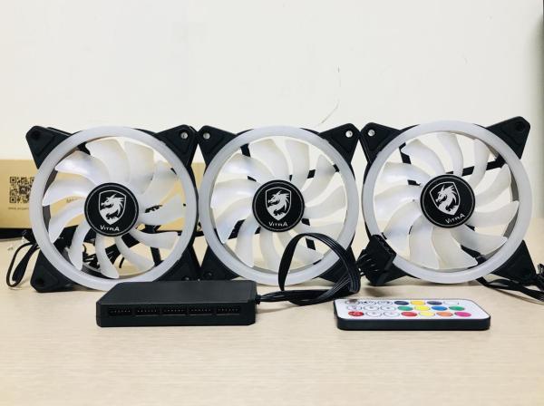 Bảng giá Bộ 3 Fan Vitra Flower Ring Aura RGB +Hub +Khiển Phong Vũ