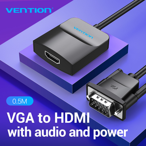 Bảng giá Vention Bộ chuyen đổi VGA Sang HDMI 1080P Video Âm Thanh HD Đầu Nối For Laptop PC TV Projector dây cáp chuyển đổi từ VGA to HDMI Phong Vũ