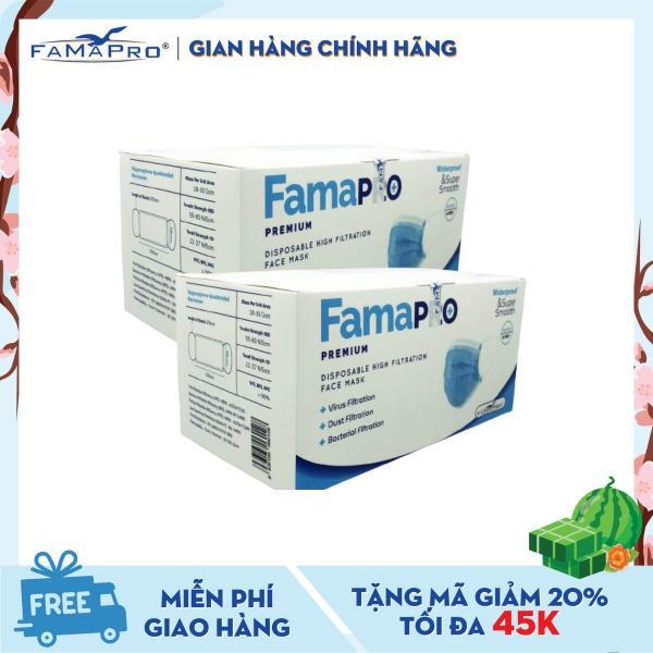 [MUA 2 TẶNG 1] Combo 2 hộp khẩu trang y tế cao cấp 4 lớp kháng khuẩn Famapro Premium (40 cái / Hộp) nhập khẩu