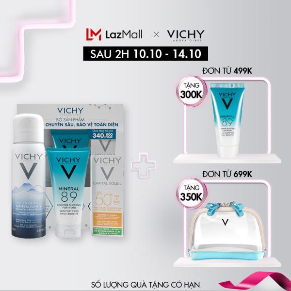 [Bộ sản phẩm trải nghiệm Vichy] Bộ bảo vệ và phục hồi chuyên sâu gồm: Serum khoáng Mineral 89, Xịt khoáng, Kem chống nắng Capital Soleil