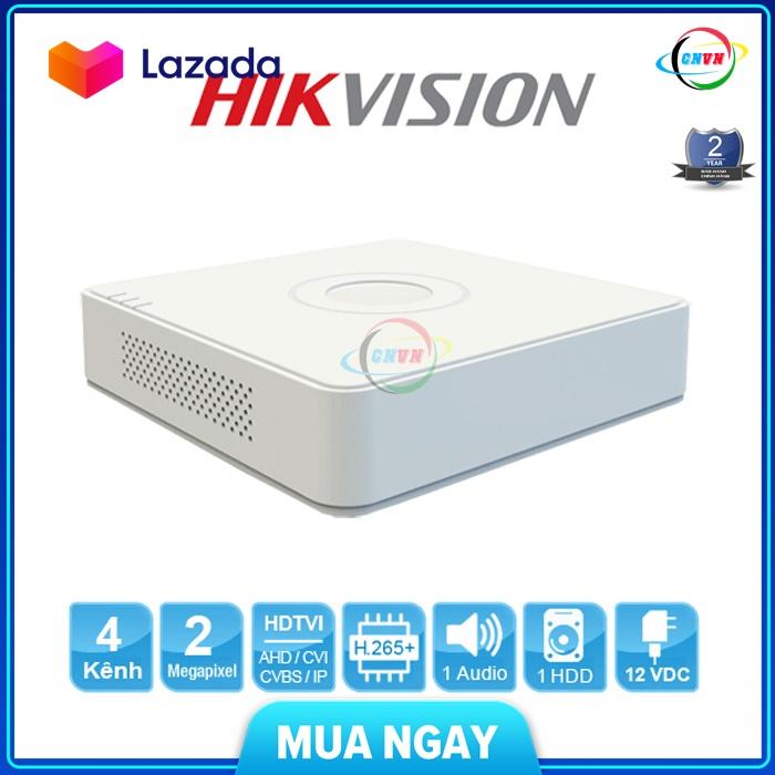 Đầu ghi hình HD Hikvision 4 kênh DS-7104HQHI-K1 chuẩn H.265+, hỗ trợ 5 loại camera, ghi hình độ phân giải lên đến 3MP