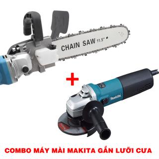 [ Trọn bộ ] Máy mài Makita 9556 + Lưỡi cưa xích Chainsaw - Biến máy mài thành máy cưa siêu rẻ - Xẻ gỗ - cắt cánh - đánh bóng - chà nhám , luoi cua xich gan may mai makita thumbnail