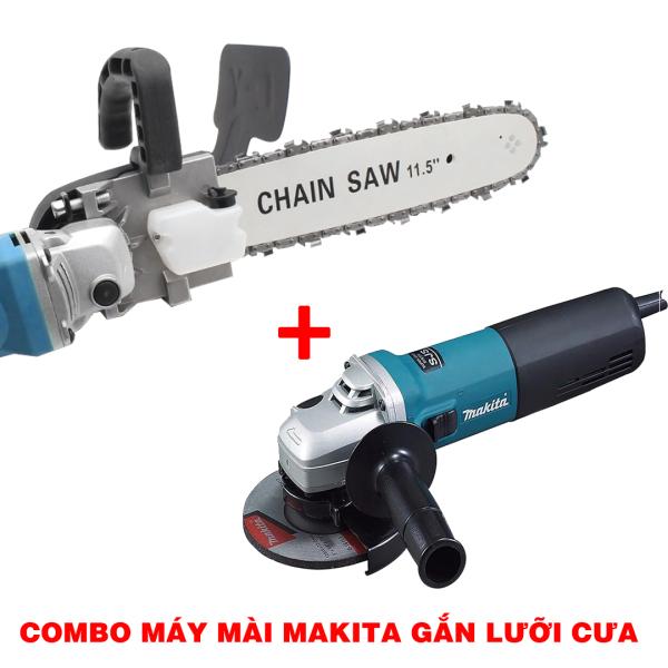 [ Trọn bộ ] Máy mài Makita 9556 + Lưỡi cưa xích Chainsaw - Biến máy mài thành máy cưa siêu rẻ - Xẻ gỗ - cắt cánh - đánh bóng - chà nhám , luoi cua xich gan may mai makita