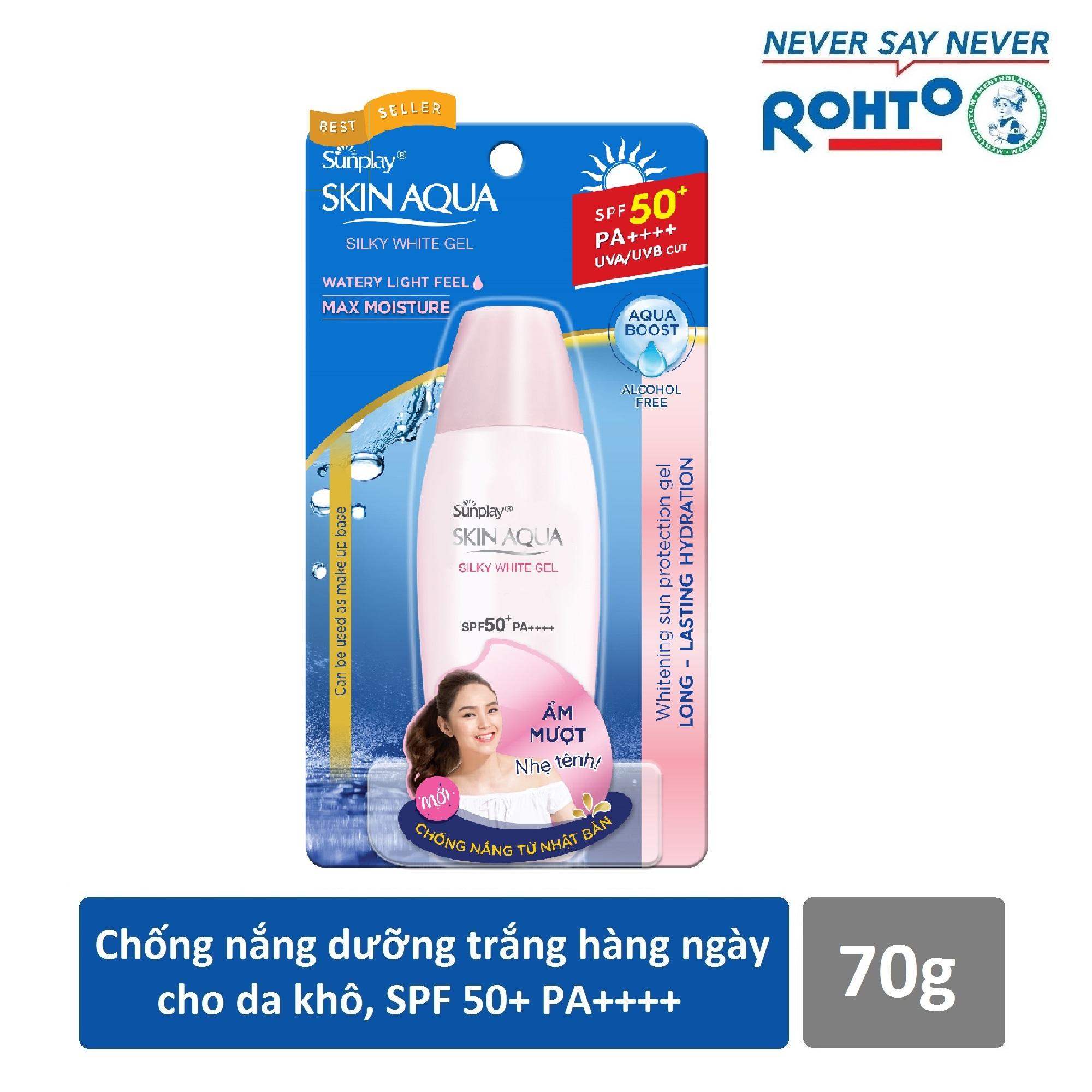 Gel chống nắng dưỡng da trắng mượt Sunplay Skin Aqua Silky White Gel SPF 50+ PA+++ 70g