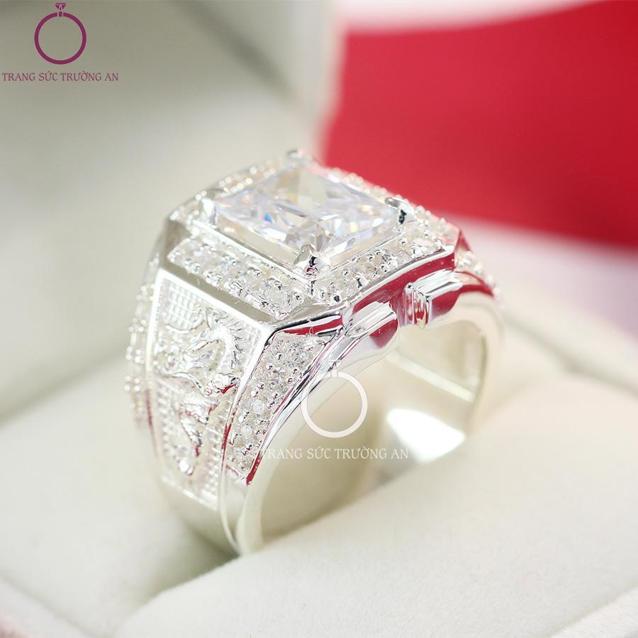 Nhẫn bạc nam đính đá bản to đẹp nhất NNA0090 - Trang Sức Trường An