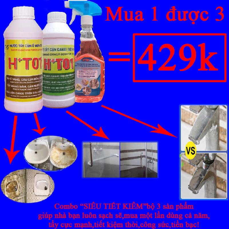 CHỈ 2K/NGÀY comboSIÊU TIẾT KIỆM NHÀ SẠCH 3 sản phẩm tẩy rửa nhà tắm nhà vệ sinh  HT01 cực mạnh ,tẩy kính,tẩy cặn inox,tẩy bồn cầu!chất tẩy kính,nước tẩy kính,chất tẩy bồn cầu,tẩy bồn cầu ố vàng,tẩy trắng bồn cầu!
