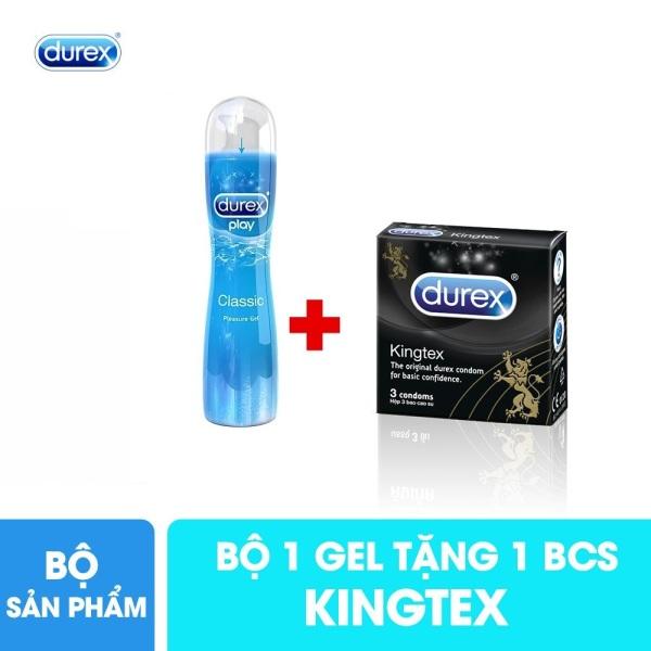 Combo 1 chai gel bôi trơn Durex Play Classic 50ml tặng 1 hộp bcs Durex Kingtex size nhỏ 49mm hộp 3 cái