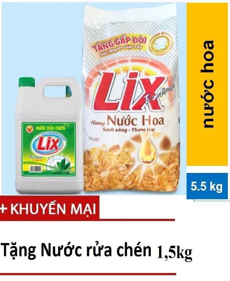 Bột Giặt Lix Extra Hương Nước Hoa 5.5kg Tặng Nước Rửa Chén 1,5kg Giá Rất Tiết Kiệm
