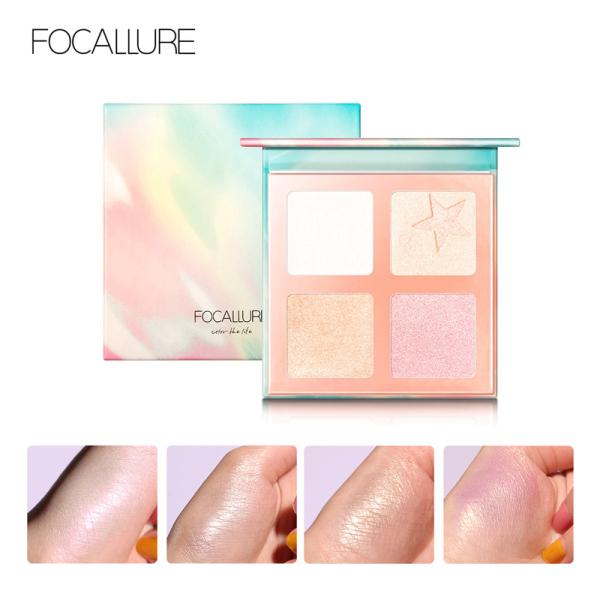 Phấn bắt sáng kiêm má hồng FOCALLURE với 4 màu tông nhũ thời trang giúp làm nổi bật gương mặt - INTL