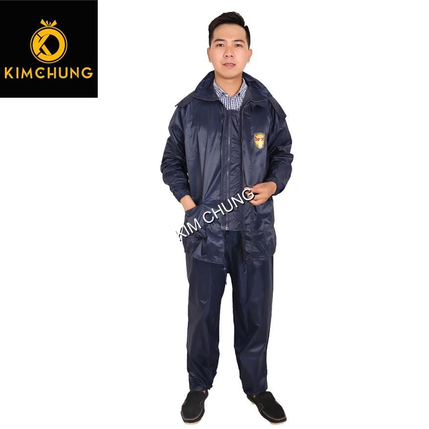 Áo mưa bộ cao cấp 2 khóa kéo siêu bền, vải dù chống thấm nước tốt (Size 3XL từ 1m6-1m7)