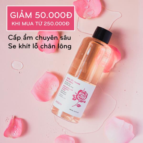 Nước tẩy trang hoa hồng làm sạch sâu, cân bằng ẩm và se khít lỗ chân lông KISSON 195ml giá rẻ