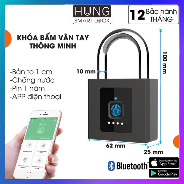 Ổ khóa bấm vân tay, khóa móc vân tay, loại to, chống trộm, chống nước, dùng cho cổng ngoài trời, pin 1 năm, kết nối APP điện thoại eSmartlock, bảo hành 12 tháng, HUNG Smart Lock