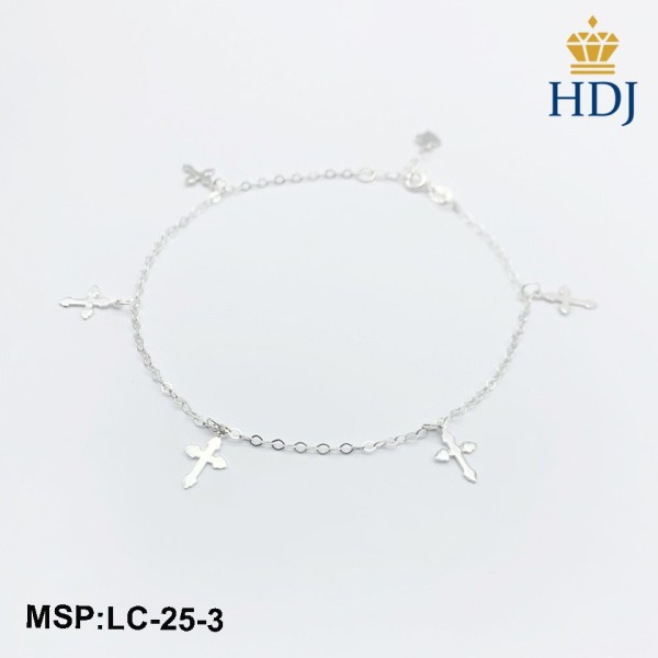 Lắc chân bạc nữ Hình Thánh Giá sang trọng trang sức cao cấp HDJ mã LC-25-3