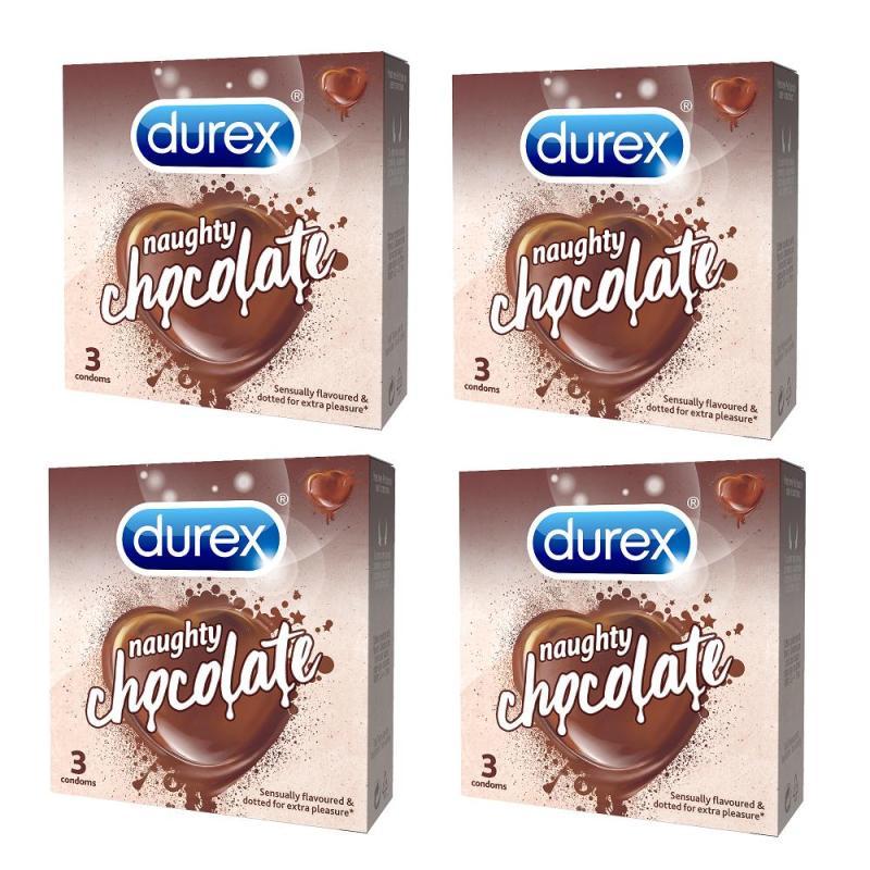Bộ 4 Hộp Bao cao su Durex Naughty Chocolate 3 cái cao cấp