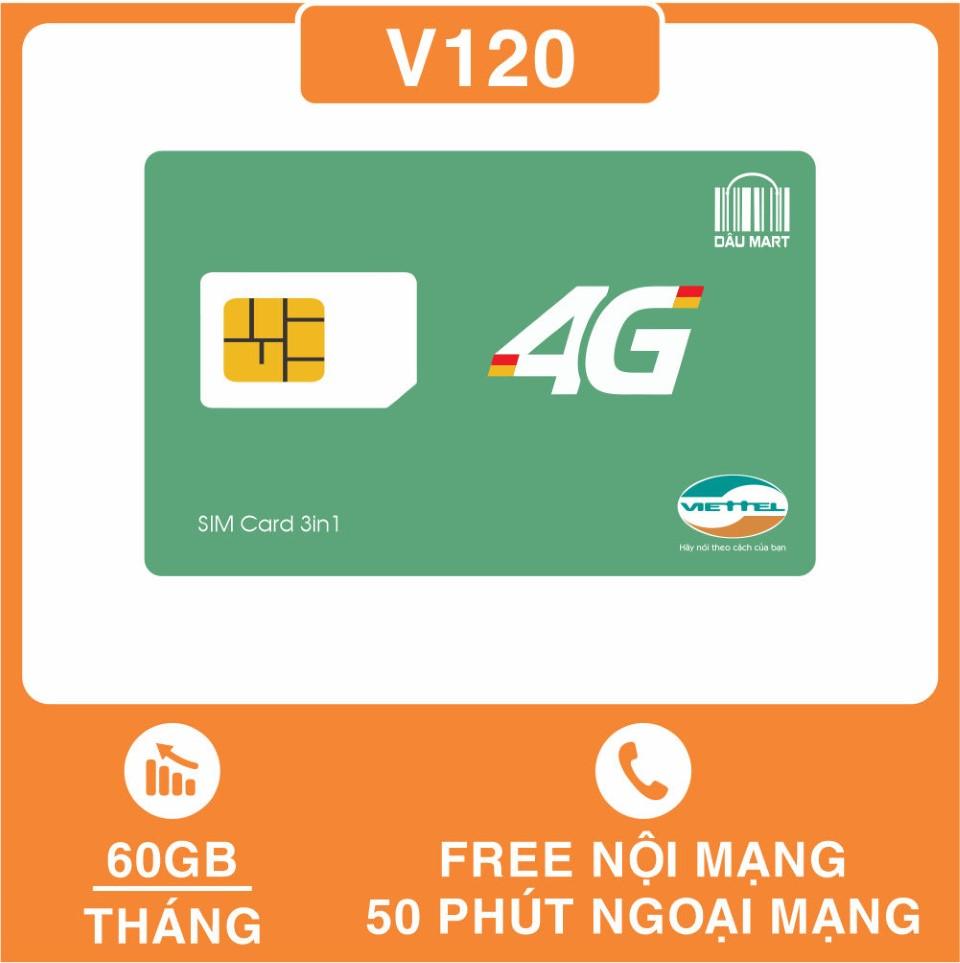 SIM 4G Viettel V120 Tặng 62GB/Tháng, Miễn Phí Gọi Nội Mạng, Tặng Thêm 50 Phút Gọi Ngoại Mạng / Tháng, Thay Thế SIM V90 - DMC Telecom Giá Rẻ Nhất Thị Trường