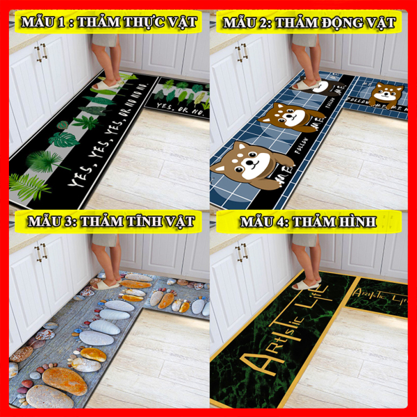 [Bộ 2 thảm] Thảm bếp 3D lớn xuất nhật Thảm lau chân hình 3d đế chống trơn trượt như hình/trang trí nhà cửa nhà bếp ,thảm trải sàn,thảm lông,TL01