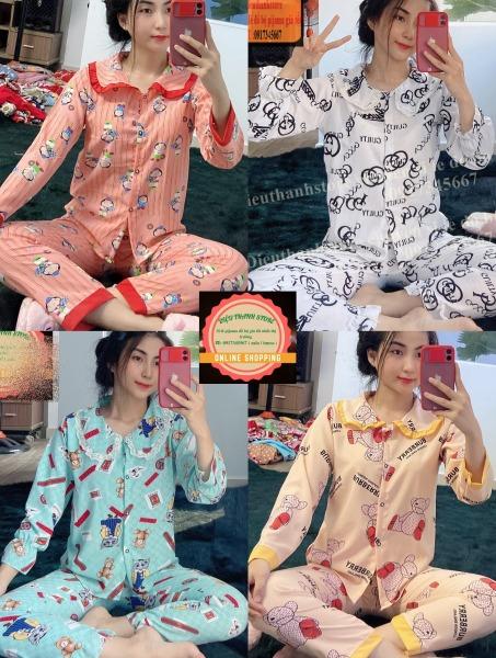 [LỤA HÀN TD]Đồ Bộ Pijama TAY DÀI PHỐI REN Siêu Xinh Từ 43-58kg ĐƯỢC CHỌN MẪU VảiI LỤA HÀN mịn đẹp, giặt không xù, không phai màu, thoáng mát dễ chịu