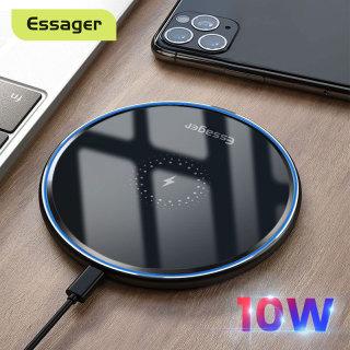 Sạc không dây ESSAGER Sạc nhanh không dây cảm ứng 10W Qi có đèn báo LED chống trượt dành cho iPhone 12 11 Pro Xs Max X Xr 8 Samsung S10 xiaomi mi 10t pro thumbnail