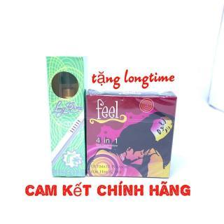 Bao cao su Feel 4in1 (hộp 3c)+ Chai Xịt Longtime Chống Xuất Tinh Sớm (5ml). thumbnail
