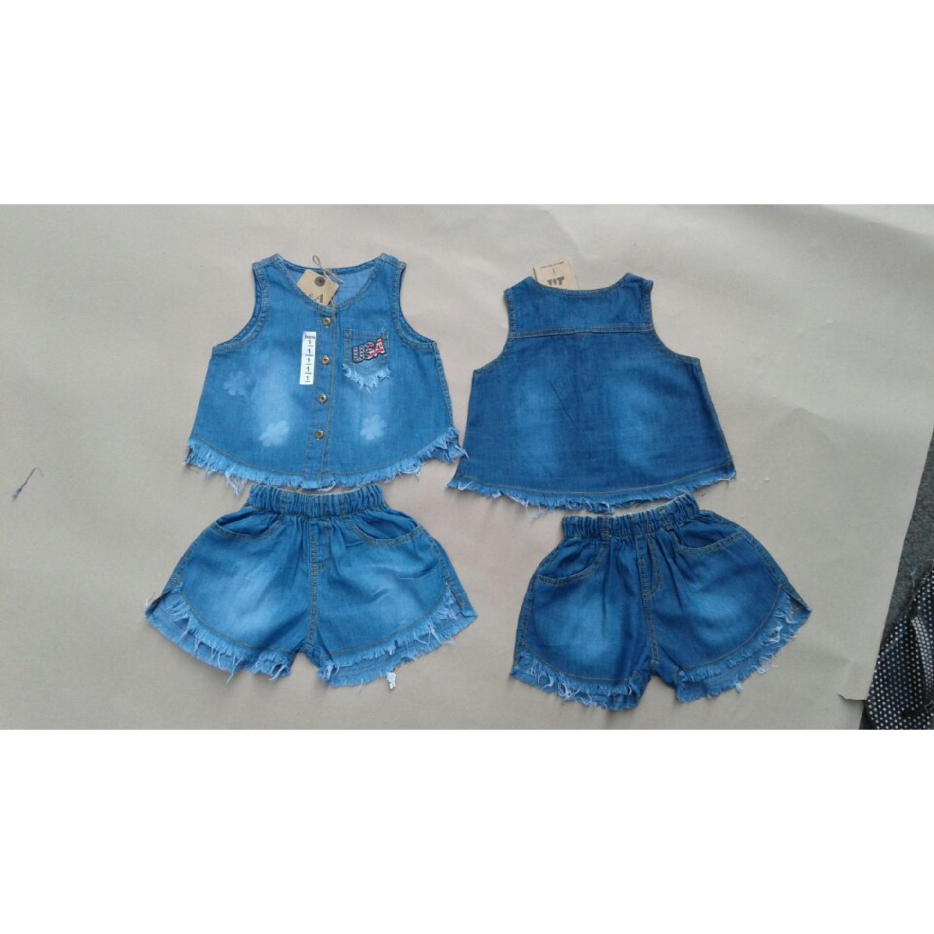 Giá bán Bộ quần áo cho bé gái - Hoạ tiết USA - mã BDA006 (SIZE 1-8)