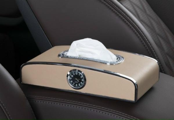 6 màu Hộp Đựng Giấy Ăn Trên ô tô ( 3 trong 1 kiêm đồng hồ , đựng giấy ăn và bảng ghi số điện thoại khi đỗ xe ) Hộp giấy ăn đẳng cấp tặng kèm miếng lót chống trượt trên xe hơi
