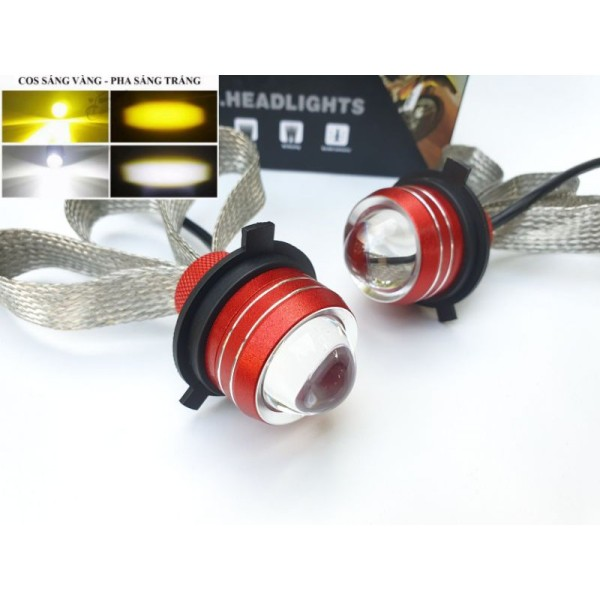 Đèn pha LED H4 2 nhiệt màu dây tản nhiệt cos vàng, pha trắng