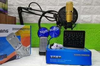Bộ thu âm live stream Sound card V10 bluetooth và Mic BM900 đầy đủ phụ kiện ,kẹp bàn ,màng lọc âm ,tặng tai phone