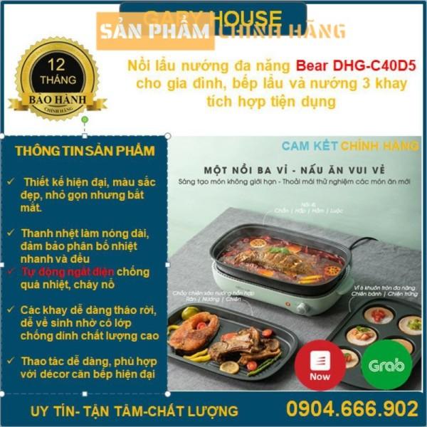 Nồi Lẩu Nướng Đa Năng Bear Dhg-C40D5 Cho Gia Đình, Bếp Lẩu Nướng 3 Khay Tích Hợp Tiện Dụng. Bh  12 Tháng
