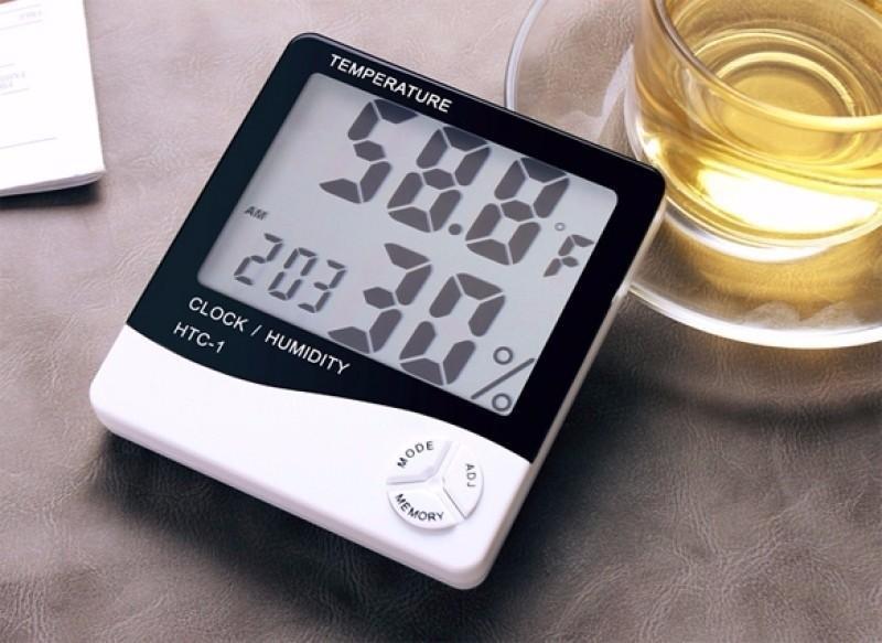 Voucher Ưu Đãi Máy Đo Nhiệt Độ Độ Ẩm Không Khí Trong Phòng HTC-1 Tích Hợp Đồng Hồ - Màn Hình LCD Lớn Dễ Quan Sát, Giảm Giá Lớn