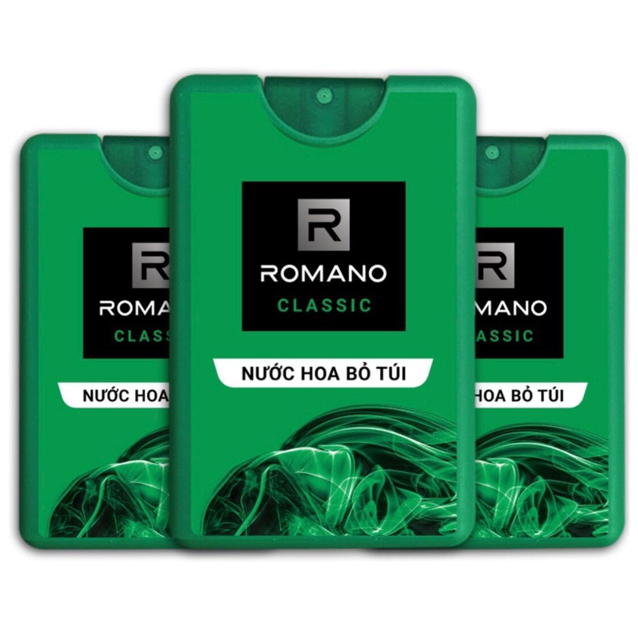 Combo 3 Chai nước hoa bỏ túi Romano Classic (18ml*3 chai)