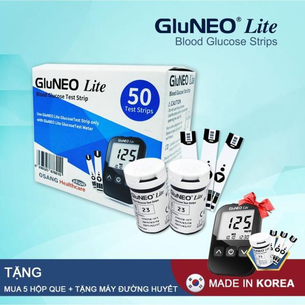 Que thử đường huyết GluNeo lite hộp 50 Test  + ( Mua 5 hộp que Gluneo lite tặng 1 bộ máy đo đường huyết Gluneo lite ) bán chạy