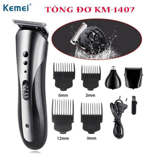 Tông đơ, tông đơ cắt tóc, tông đơ đa năng, tông đơ 3 in 1 cắt tóc, cạo râu, tỉa lông mũi cao cấp, tông đơ KM-1407 cắt tóc cho cả gia đình, người lớn và trẻ nhỏ