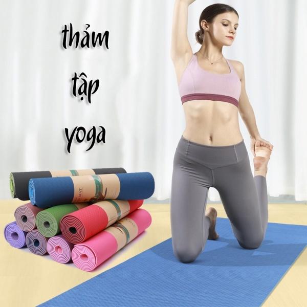 [GIẢM THÊM 8%] Thảm tập Yoga TPE cao cấp 2 lớp loại giày 6mm, thảm tập thể dục chống trơn chống trượt, đồ dùng dụng cụ phụ kiện thể dục thể thao cao cấp, đệm tập yoga, Gia dụng Huy Tuấn Hà Nội