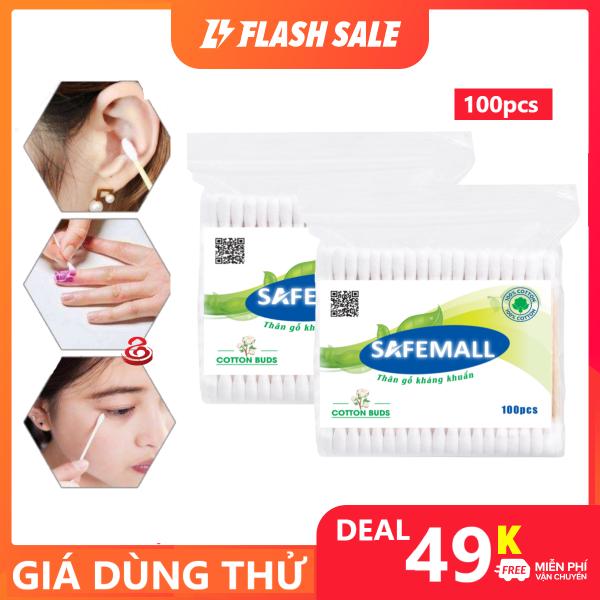 [BÁN CHẠY] Tăm Bông Gỗ 100 Cây SAFEMALL Bông gòn mềm mại kháng khuẩn an toàn thân thiện môi trường - Hàng Việt Nam xuất khẩu