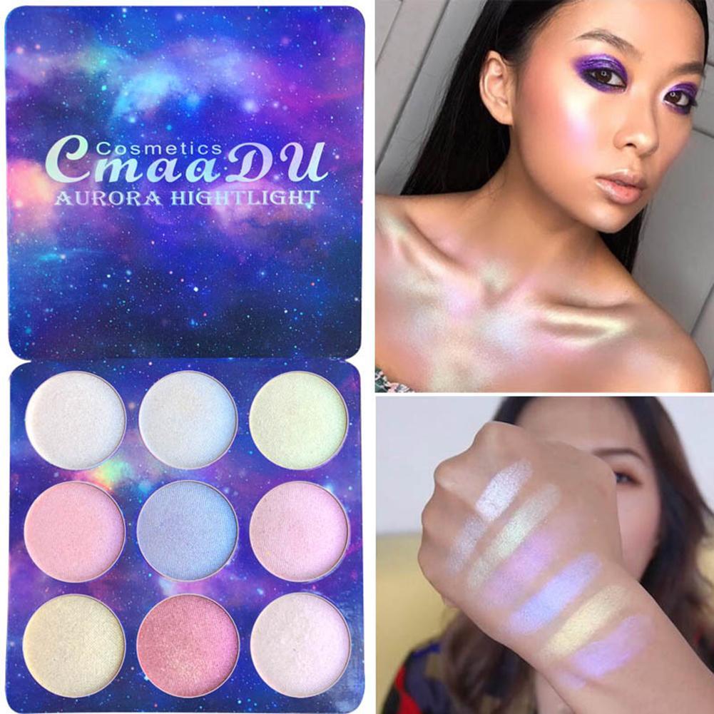 9 Colors Highlight Eye Shadow Glitter Powder Palette Shimmer High Light Brighten Skin Blush Highlighter Makeup Concealer Cosmetic